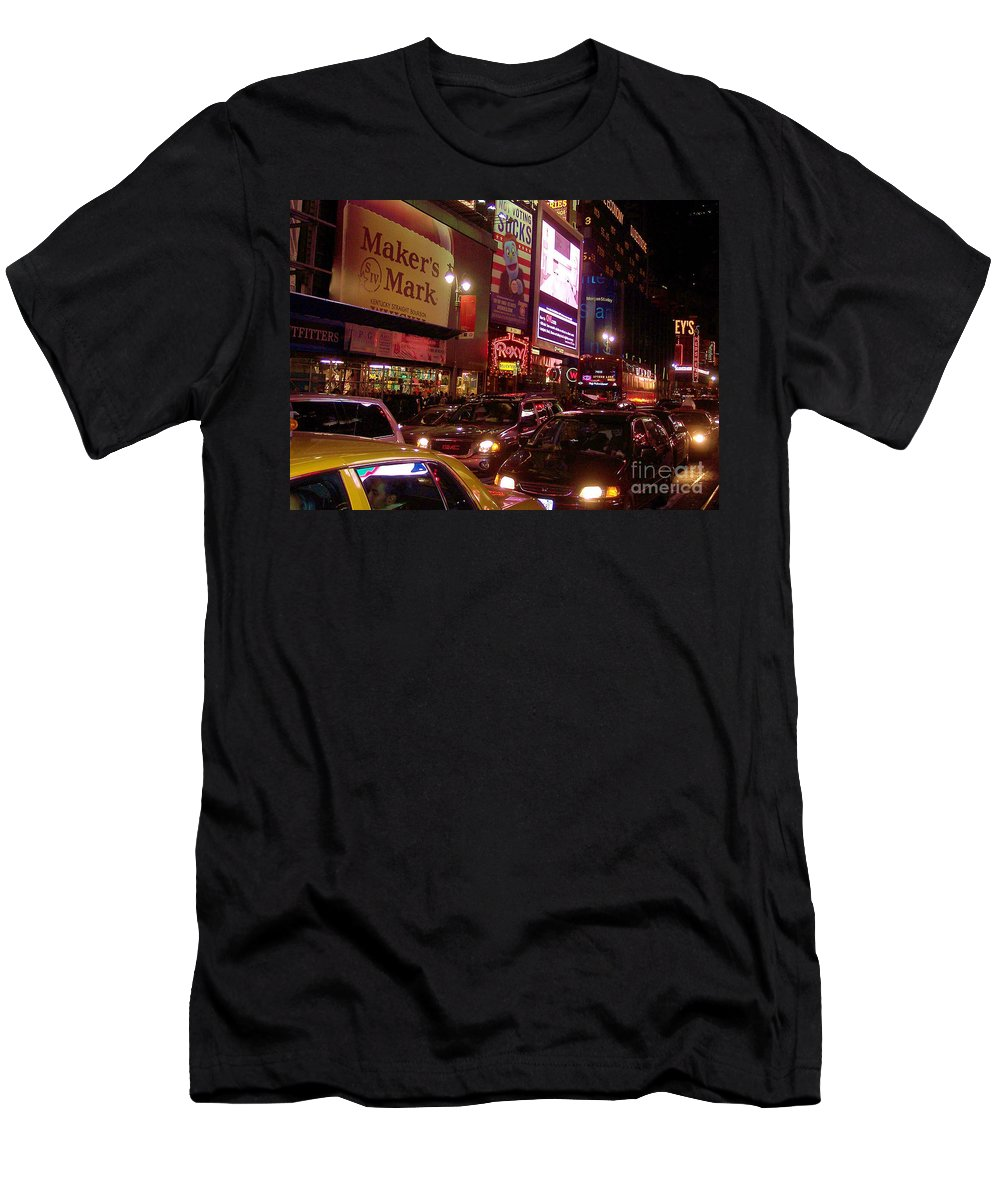 New York Men's T-Shirt (Athletic Fit) featuring the photograph Times Square Night by Debbi Granruth