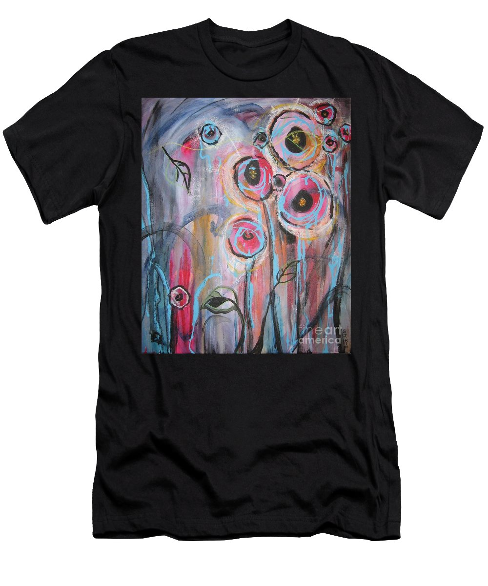Aabstract Paintings Men's T-Shirt (Athletic Fit) featuring the painting Too Many Temptations by Seon-Jeong Kim