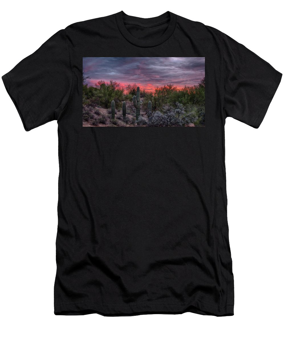 Tucson Men's T-Shirt (Athletic Fit) featuring the photograph Tucson Sunset by Charlie Alolkoy