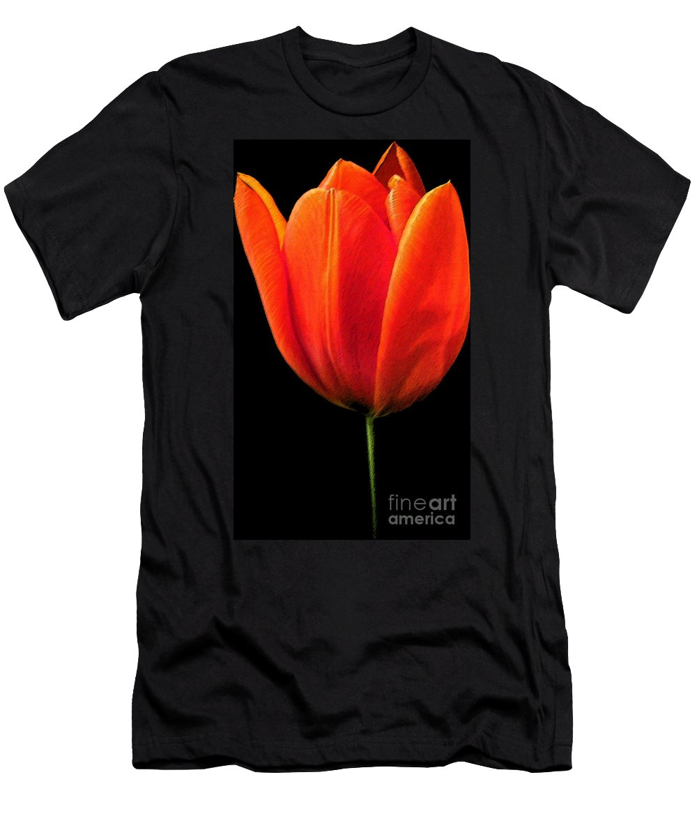 Tulips Men's T-Shirt (Athletic Fit) featuring the photograph Tulip by Amanda Barcon