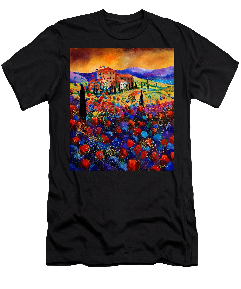 Flowers Men's T-Shirt (Athletic Fit) featuring the painting Tuscany Poppies by Pol Ledent