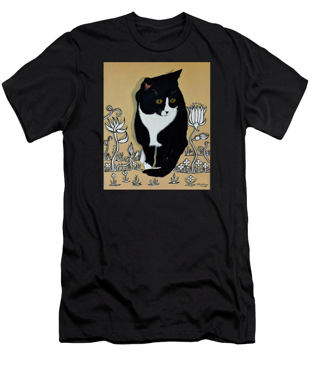 Tuxedo Cat Men's T-Shirt (Athletic Fit) featuring the painting Tuxedo Cat by Adrian Ramos