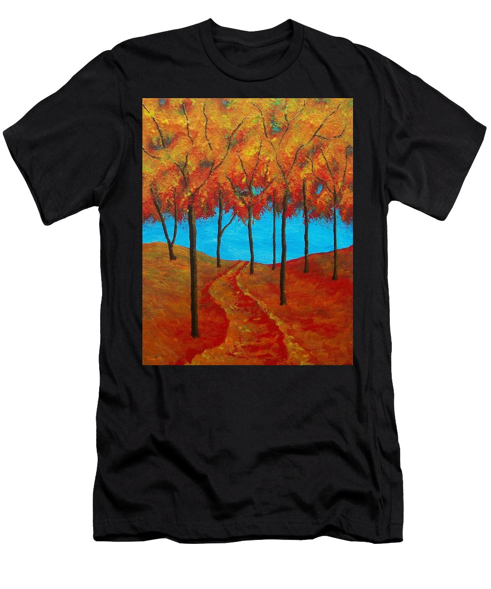Art & Collectibles Painting Forest Path Twilight Forest Sunset Woods Rolling Hill Monochrome Painting Ooak One Of A Kind Wooded Trail Shiny Artwork Hiking Art Nature Painting Red Yellow Orange Brown Blue Painting Men's T-Shirt (Athletic Fit) featuring the painting Twilight Woods by Mike Kraus