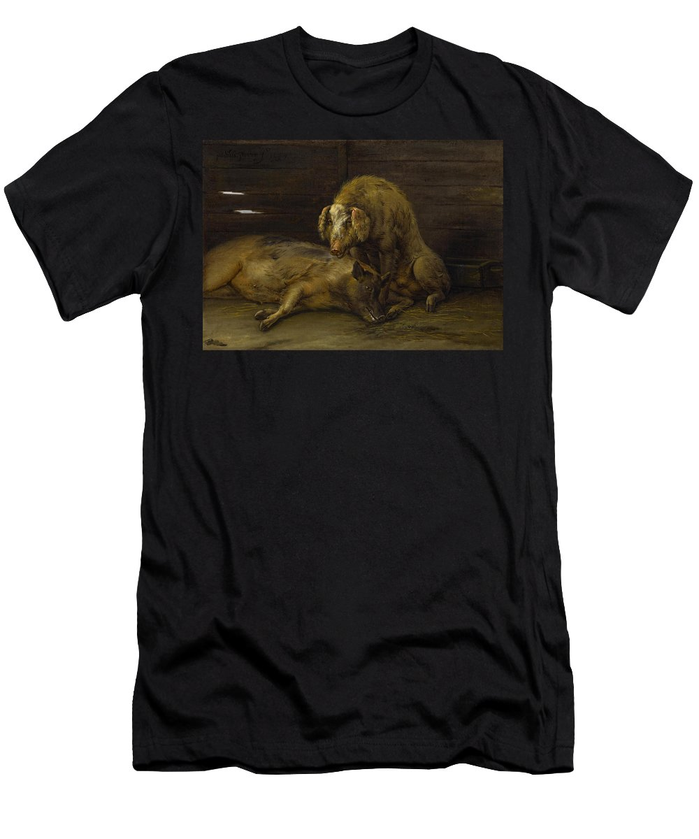 Two Pigs In A Sty By Paulus Potter Men's T-Shirt (Athletic Fit) featuring the painting Two Pigs In A Sty by Paulus Potter