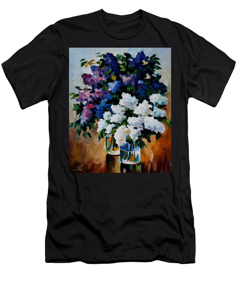 Afremov Men's T-Shirt (Athletic Fit) featuring the painting Two Spring Colors by Leonid Afremov