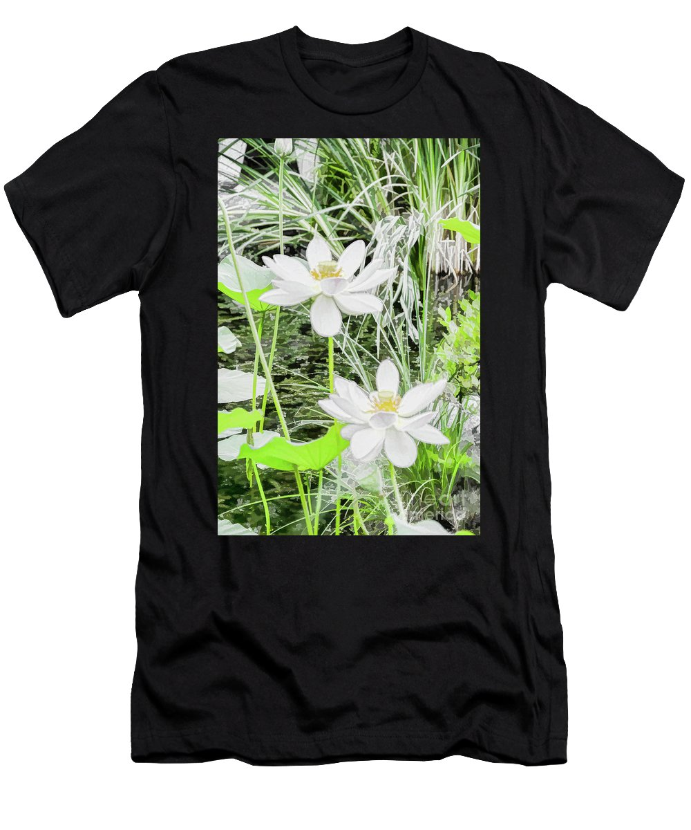 Aesthetic Men's T-Shirt (Athletic Fit) featuring the painting Two Water-lilies by Jeelan Clark