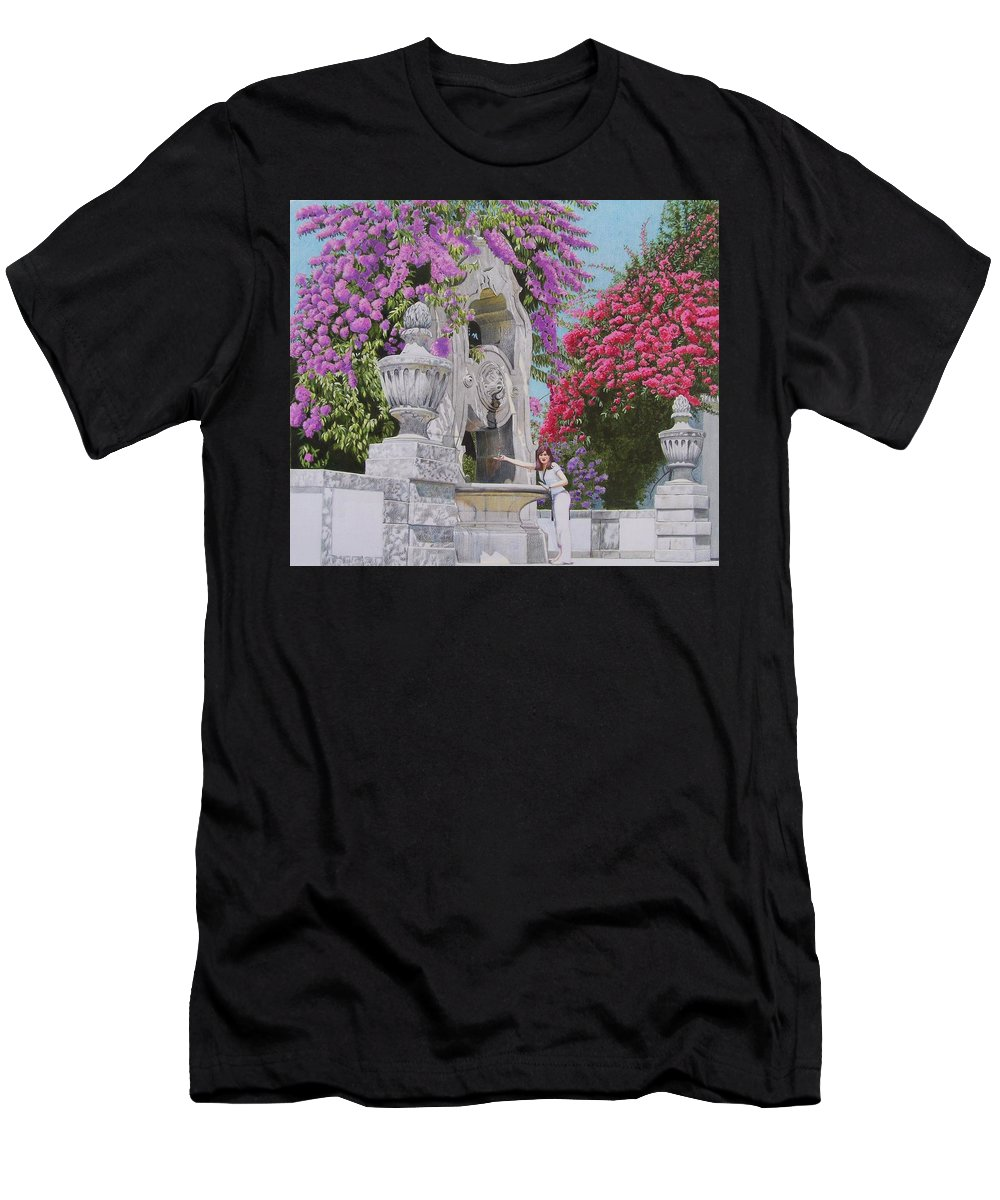 Landscape Men's T-Shirt (Athletic Fit) featuring the mixed media Vacation In Portugal by Constance Drescher