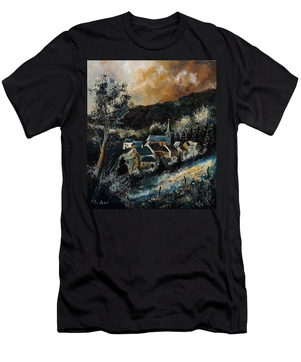 Tree Men's T-Shirt (Athletic Fit) featuring the painting Vencimont 78 by Pol Ledent