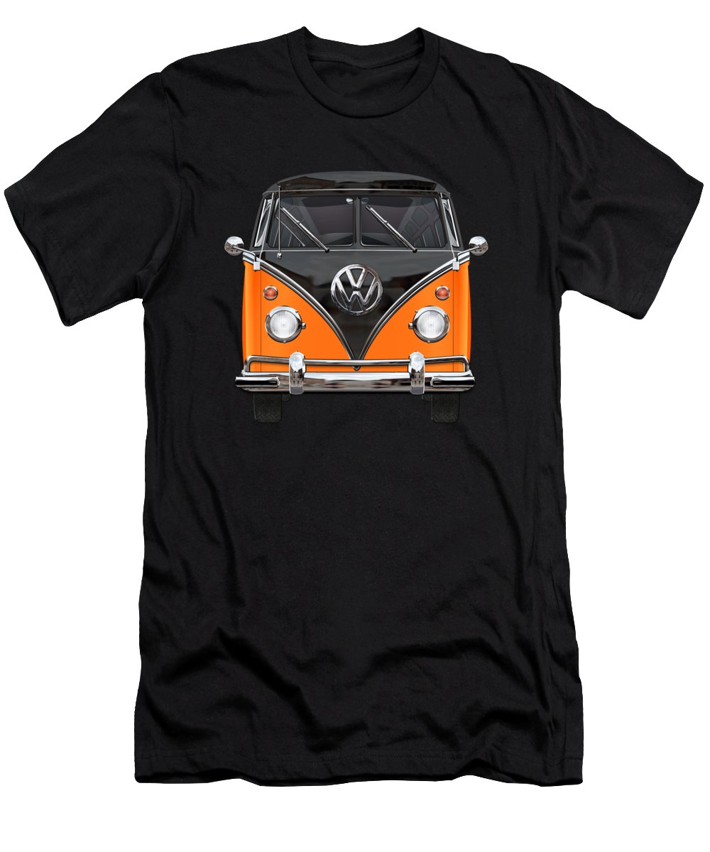 'volkswagen Type 2' Collection By Serge Averbukh Men's T-Shirt (Athletic Fit) featuring the photograph Volkswagen Type 2 - Black And Orange Volkswagen T 1 Samba Bus Over Blue 1 by Serge Averbukh