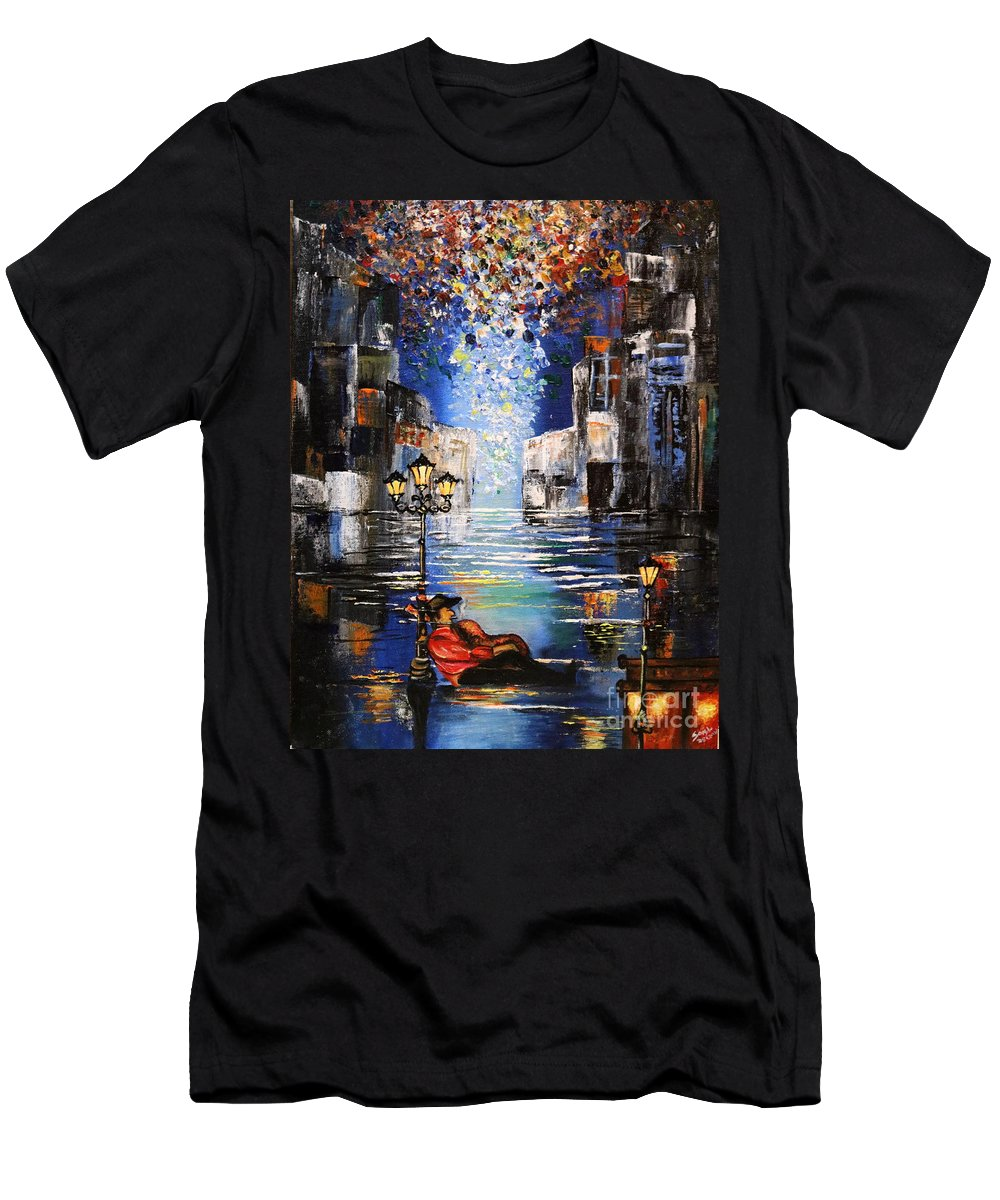 Acrylic Oil Painting Men's T-Shirt (Athletic Fit) featuring the painting Waiting by Richa Anand