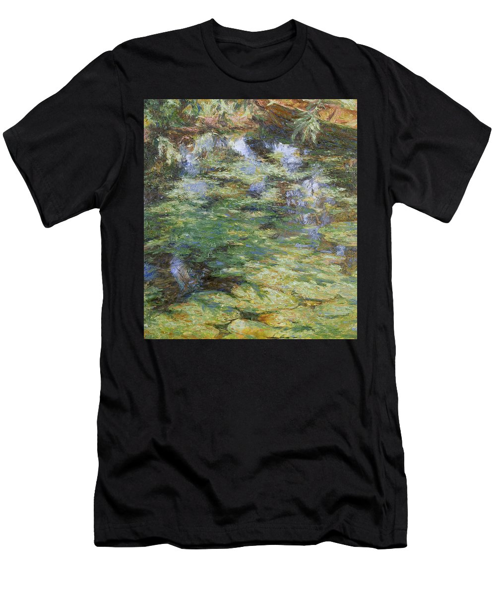 Bay Men's T-Shirt (Athletic Fit) featuring the painting Water-lilies by Robert Nizamov