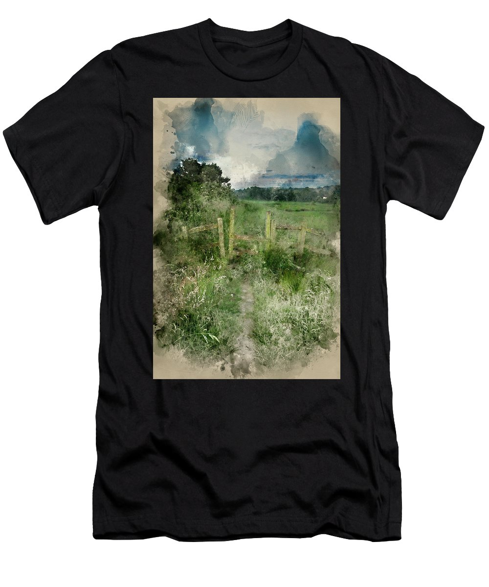 Landscape Men's T-Shirt (Athletic Fit) featuring the photograph Watercolor Painting Of Beautiful Vibrant Summer Sunrise Over Eng by Matthew Gibson