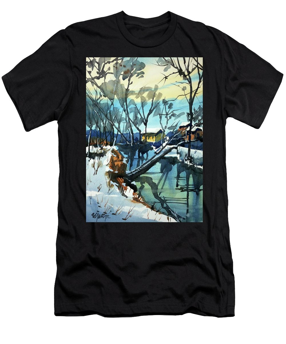 Colorado Landscape Men's T-Shirt (Athletic Fit) featuring the painting Watercolor3694 by Ugljesa Janjic