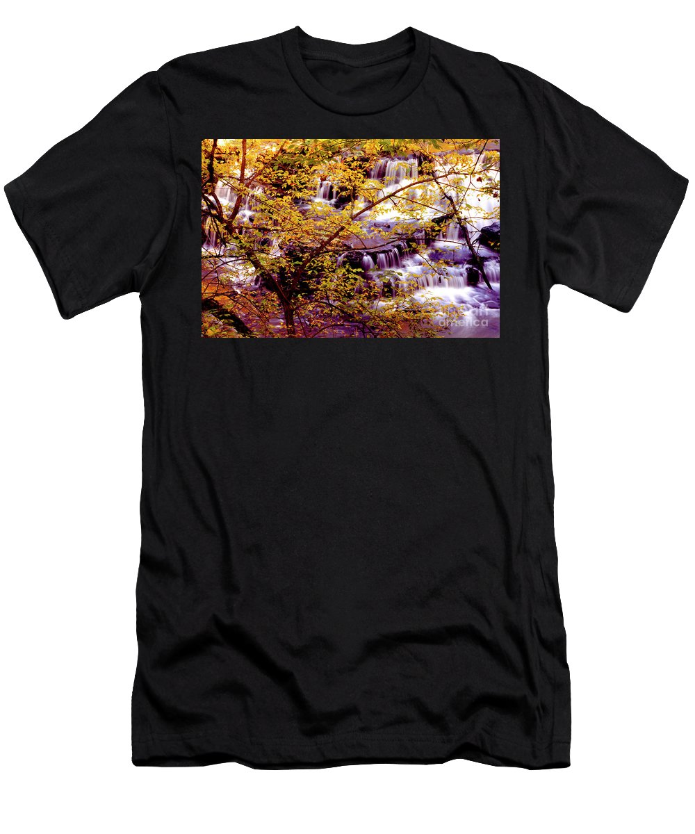 Fall Colors Men's T-Shirt (Athletic Fit) featuring the photograph Waterfalls And Fall Colors by Paul W Faust - Impressions of Light