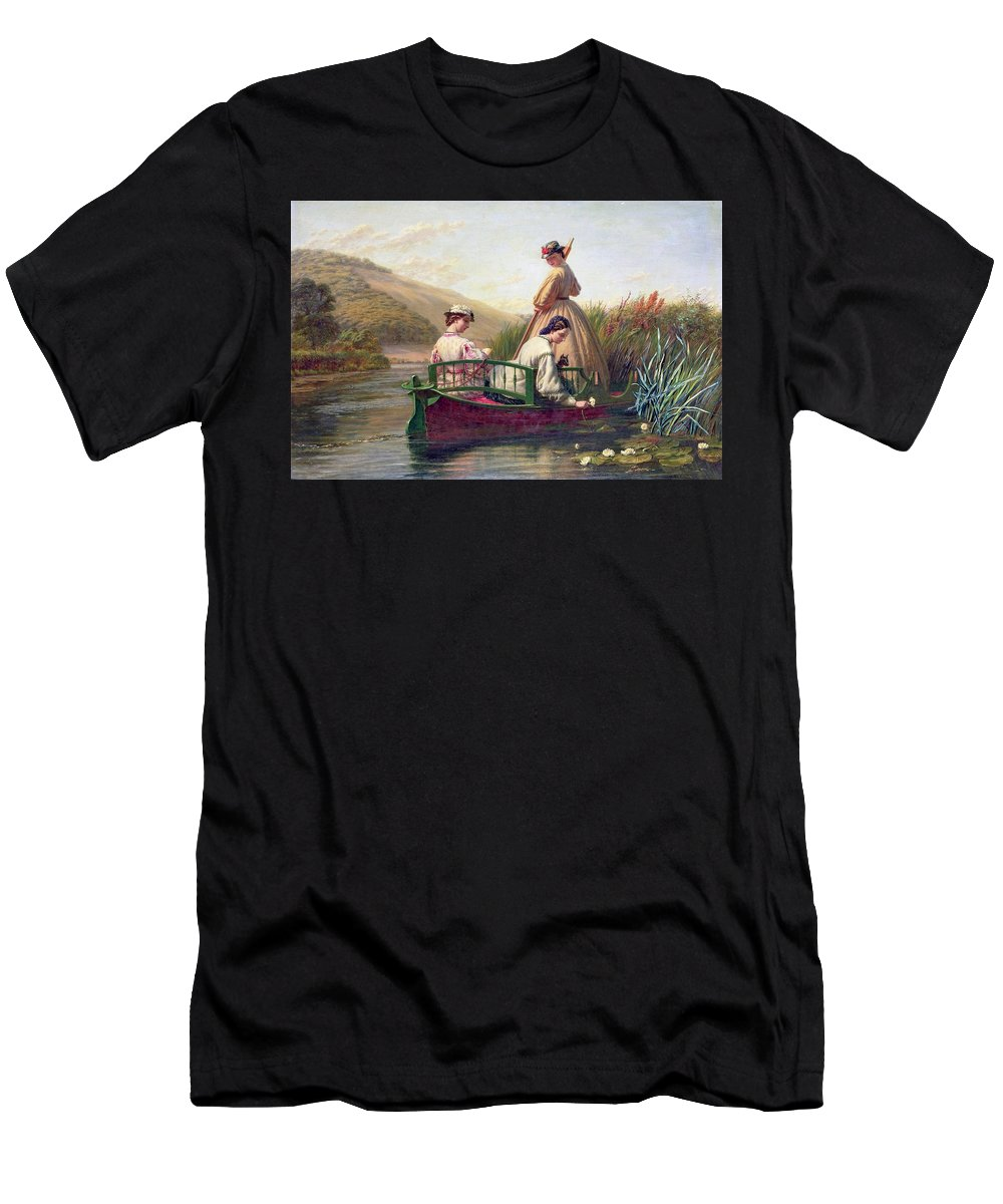 Walter Field - Waterlilies Men's T-Shirt (Athletic Fit) featuring the painting Waterlilies by MotionAge Designs