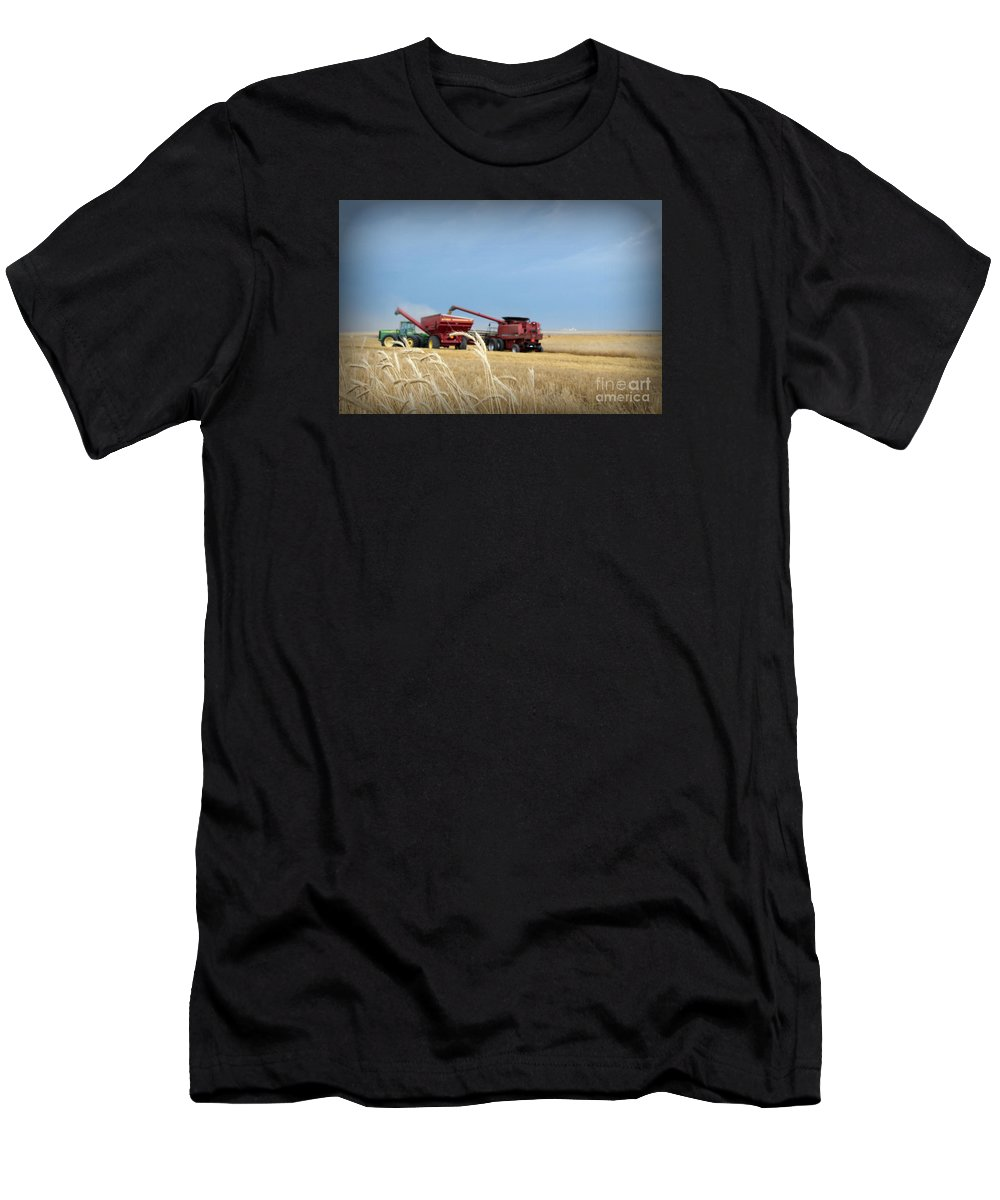 Wheat Men's T-Shirt (Athletic Fit) featuring the photograph Wheat Harvest 2016 by Amy Steeples