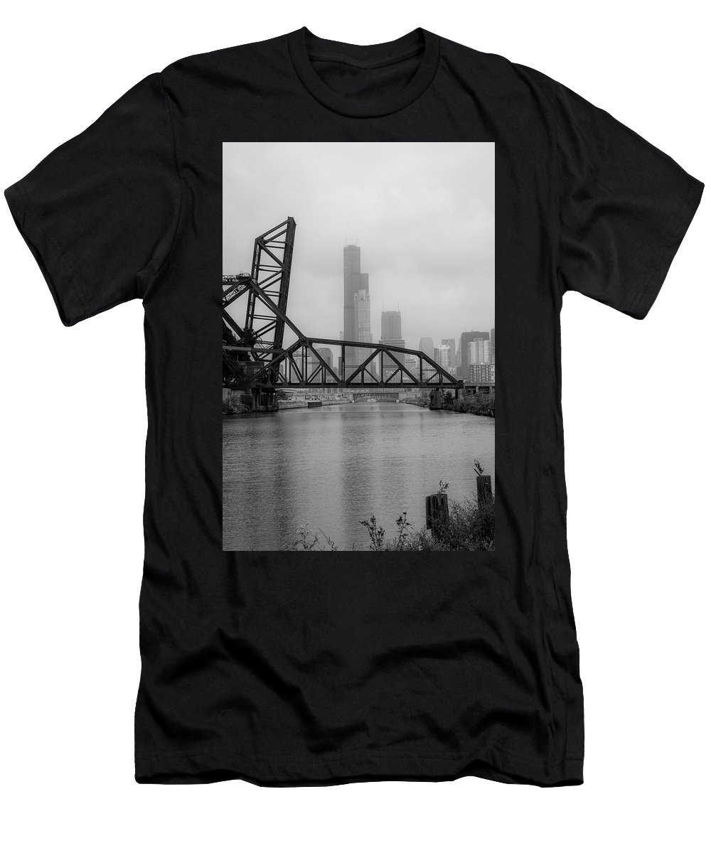 Chicago Men's T-Shirt (Athletic Fit) featuring the photograph Willis Tower In Fog by Anthony Doudt