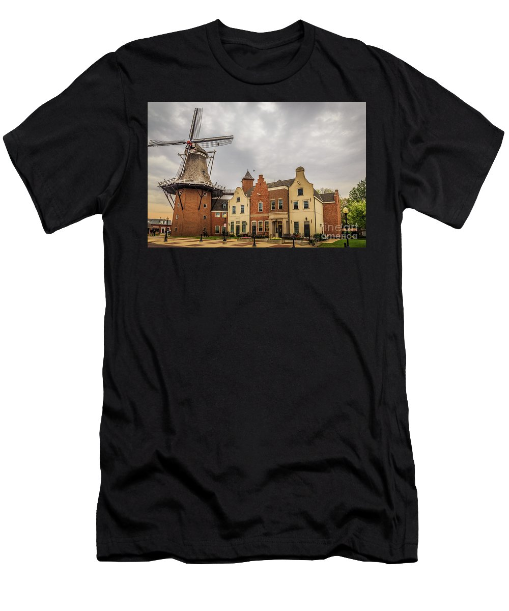 Windmill Men's T-Shirt (Athletic Fit) featuring the photograph Windmill In The Clouds by Terri Morris