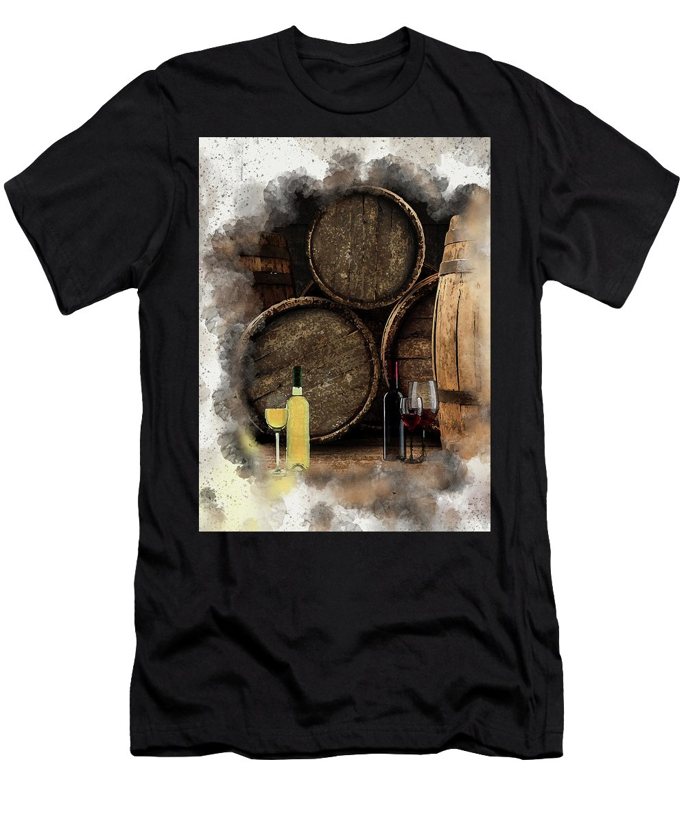 Wine Men's T-Shirt (Athletic Fit) featuring the digital art Wine For Life by Karl Knox Images