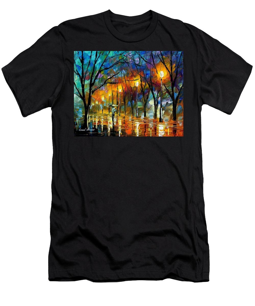 Landscape Men's T-Shirt (Athletic Fit) featuring the painting Winter by Leonid Afremov