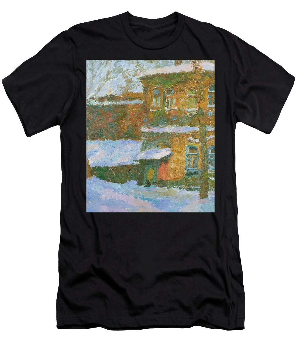 Snow Men's T-Shirt (Athletic Fit) featuring the painting Winter by Robert Nizamov