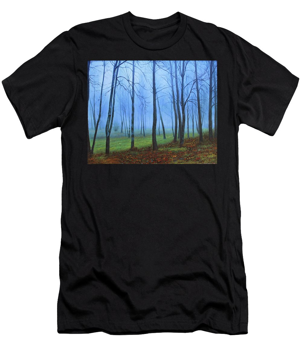 Winter Trees Men's T-Shirt (Athletic Fit) featuring the painting Winter Trees by Conor McGuire