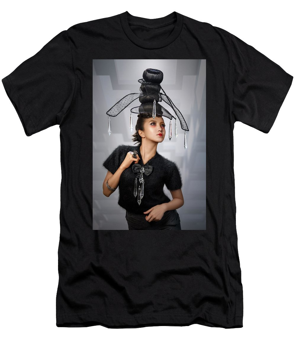 Chandelier Headdress Men's T-Shirt (Athletic Fit) featuring the photograph Woman With Chandelier Headdress by Erich Caparas