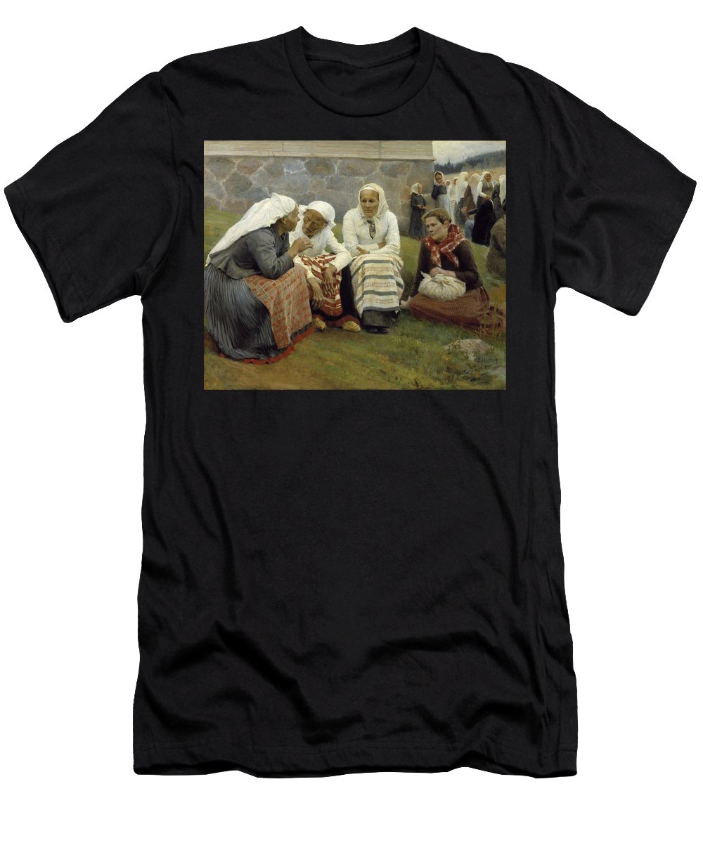 Albert Edelfelt Men's T-Shirt (Athletic Fit) featuring the painting Women Outside The Church At Ruokolahti by MotionAge Designs