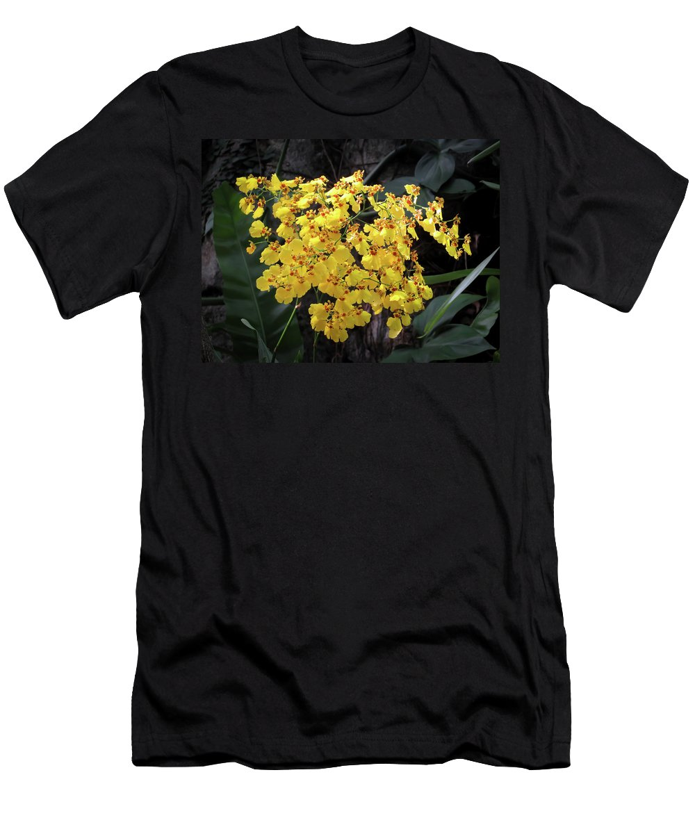Orchid Men's T-Shirt (Athletic Fit) featuring the photograph Yellow Orchids by Zina Stromberg