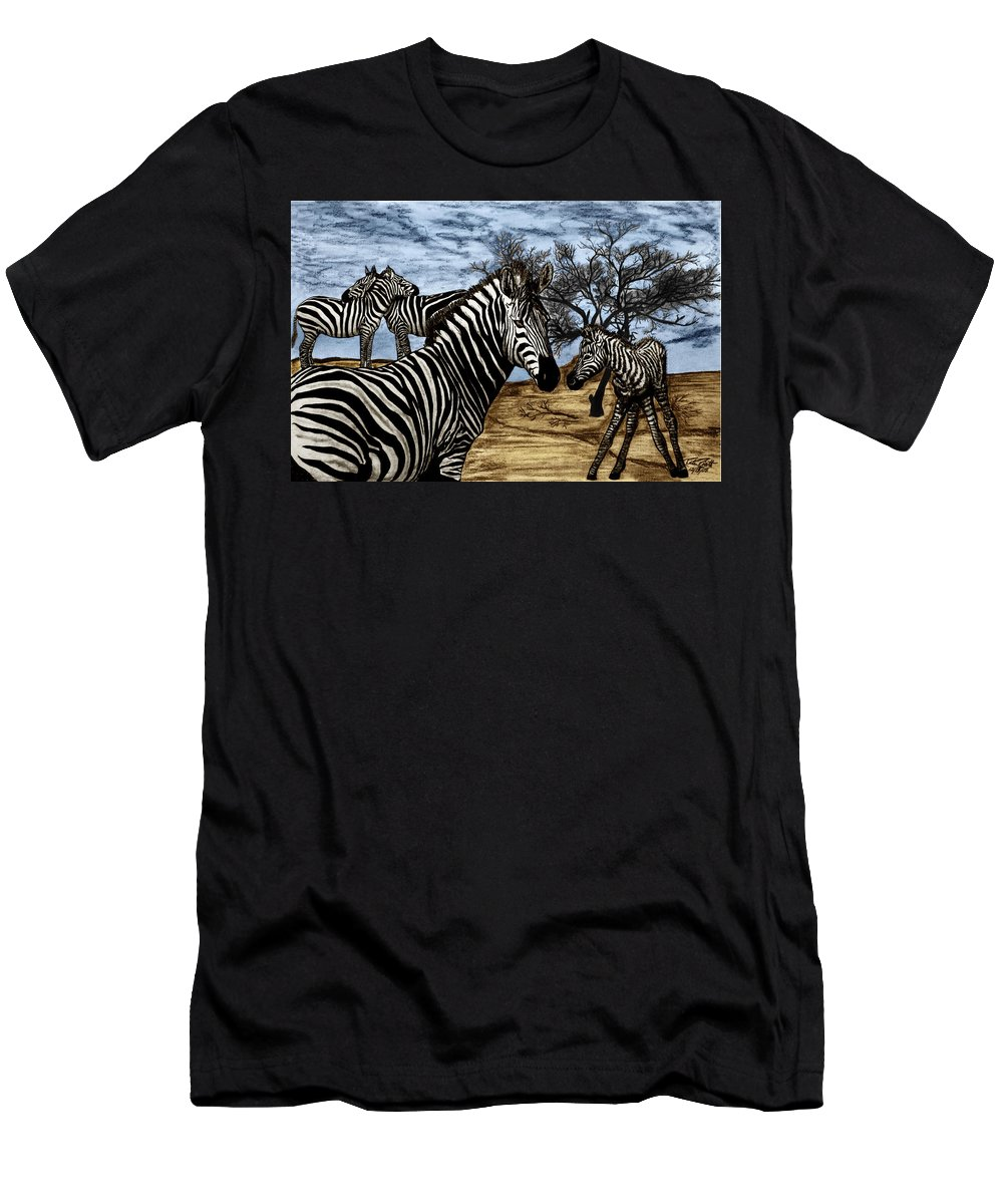 Zebra Outback Men's T-Shirt (Athletic Fit) featuring the drawing Zebra Outback by Peter Piatt