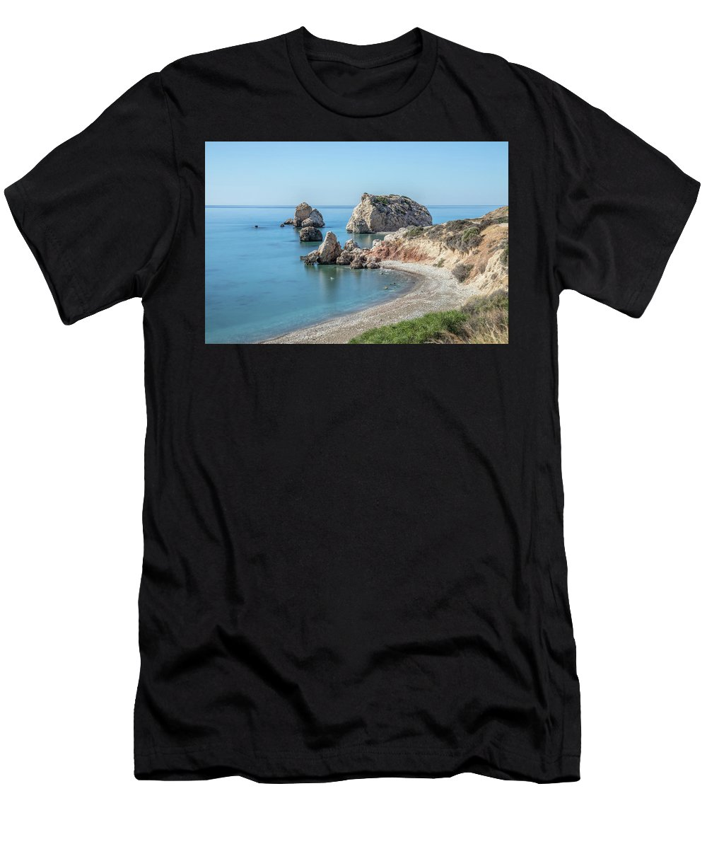 Petra Tou Romiou Men's T-Shirt (Athletic Fit) featuring the photograph Aphrodite's Rock - Cyprus by Joana Kruse
