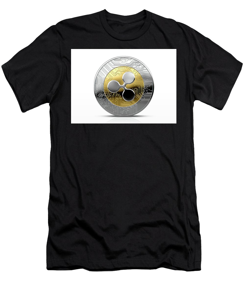 Ripple T-Shirt featuring the digital art Cryptocurrency Physical Coin by Allan Swart