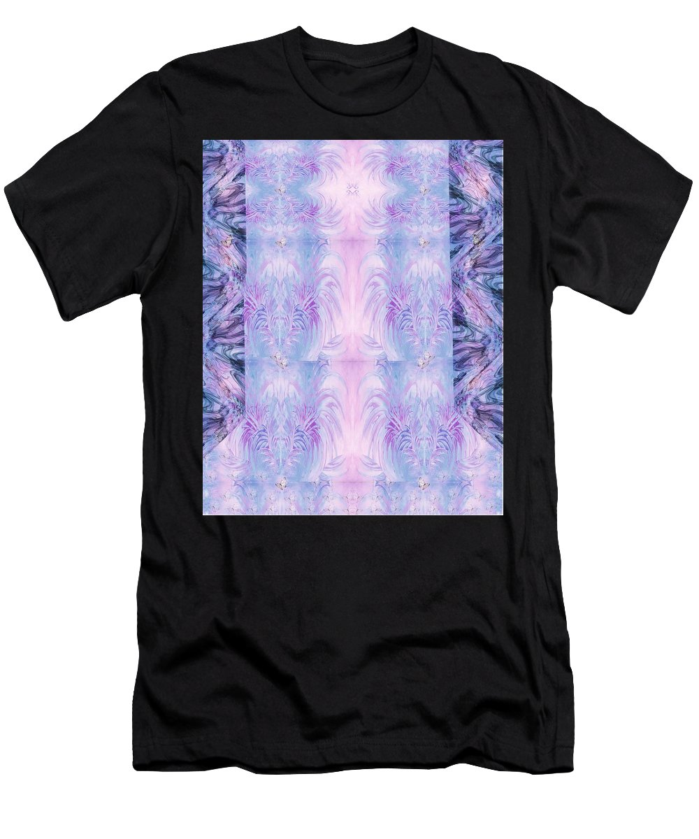 Floral Men's T-Shirt (Athletic Fit) featuring the digital art Floral Abstract Design-special Silk Fabric by Sandrine Kespi