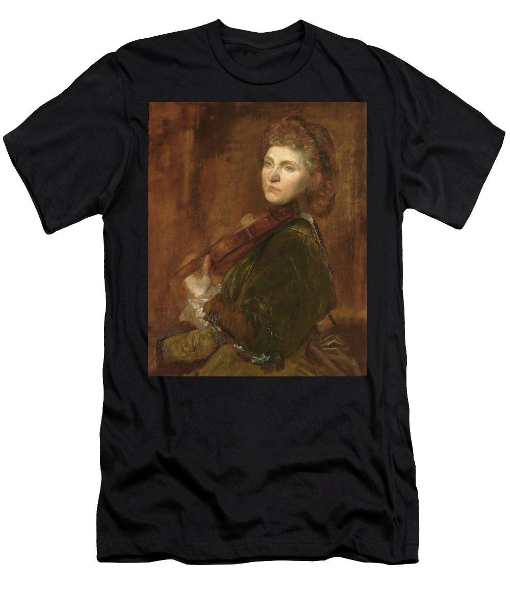 Lady Hallé (woman Playing Violin) Men's T-Shirt (Athletic Fit) featuring the painting Lady by MotionAge Designs