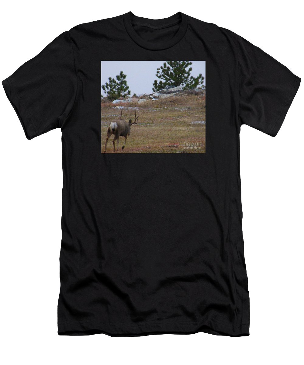 Deer Men's T-Shirt (Athletic Fit) featuring the photograph 10 Point Buck Heads West by Jeff Birr