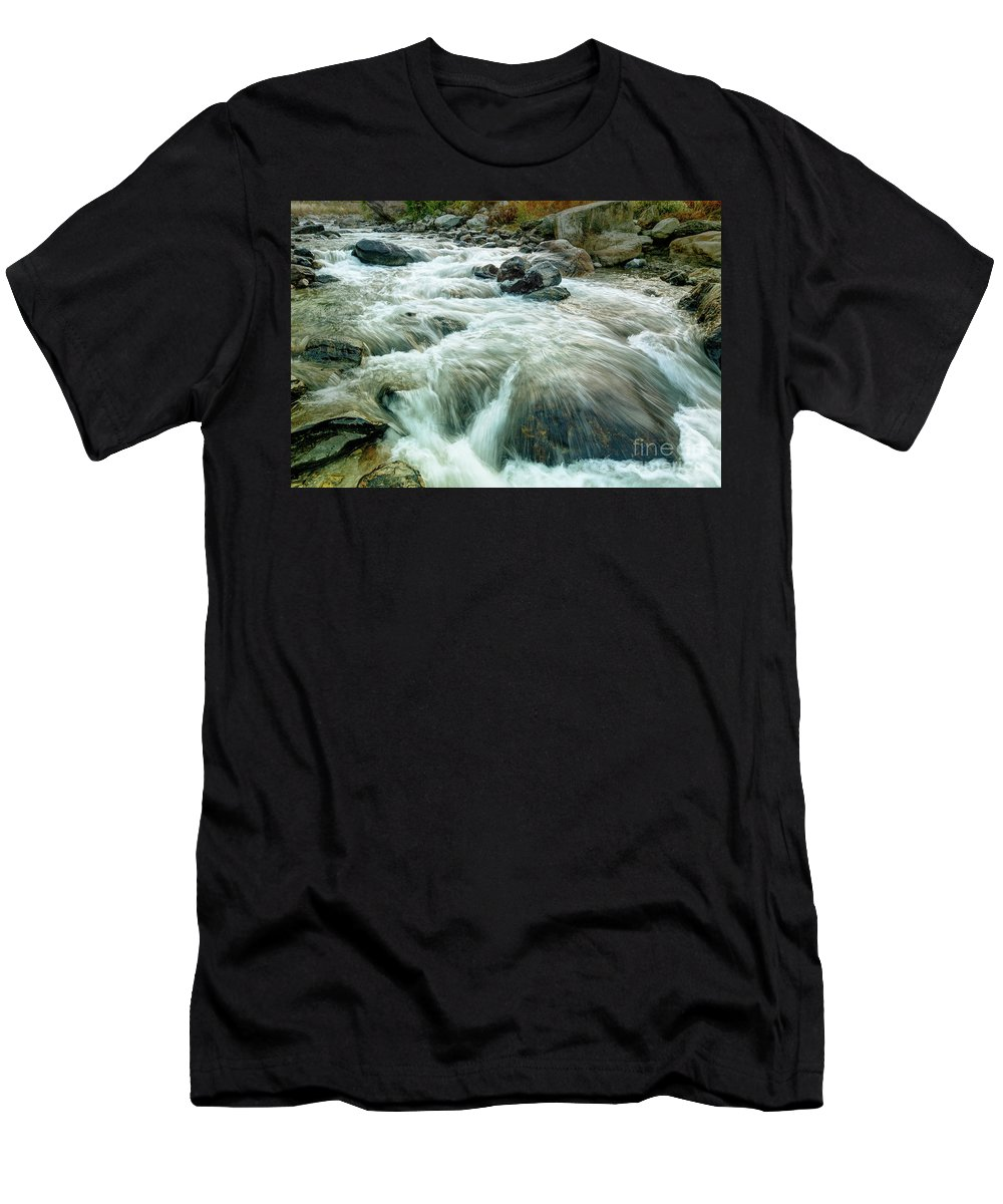 Reshi Men's T-Shirt (Athletic Fit) featuring the photograph River Water Flowing Through Rocks At Dawn by Rudra Narayan Mitra
