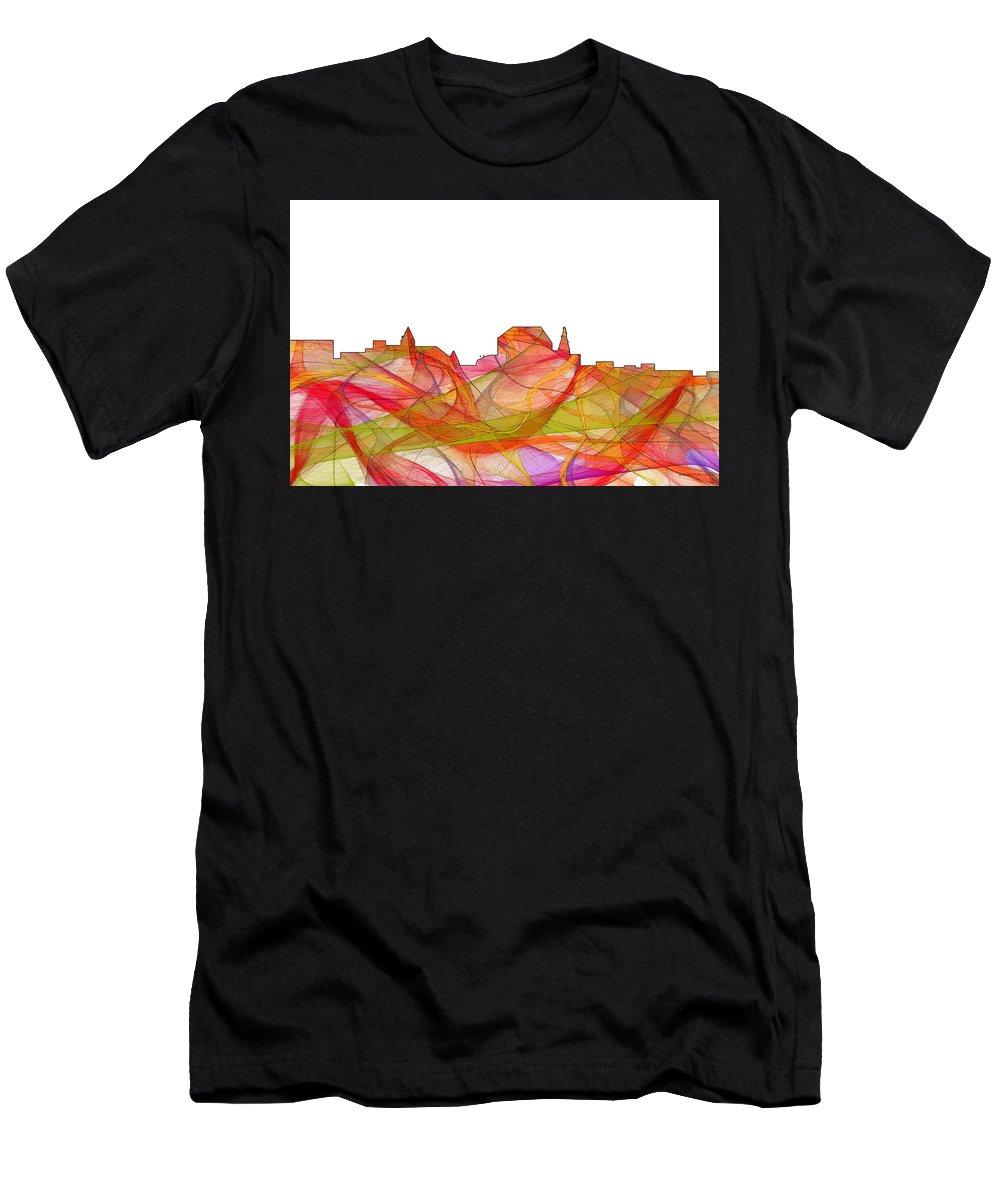 Augusta Maine Skylineskyline Men's T-Shirt (Athletic Fit) featuring the digital art Augusta Maine Skyline by Marlene Watson