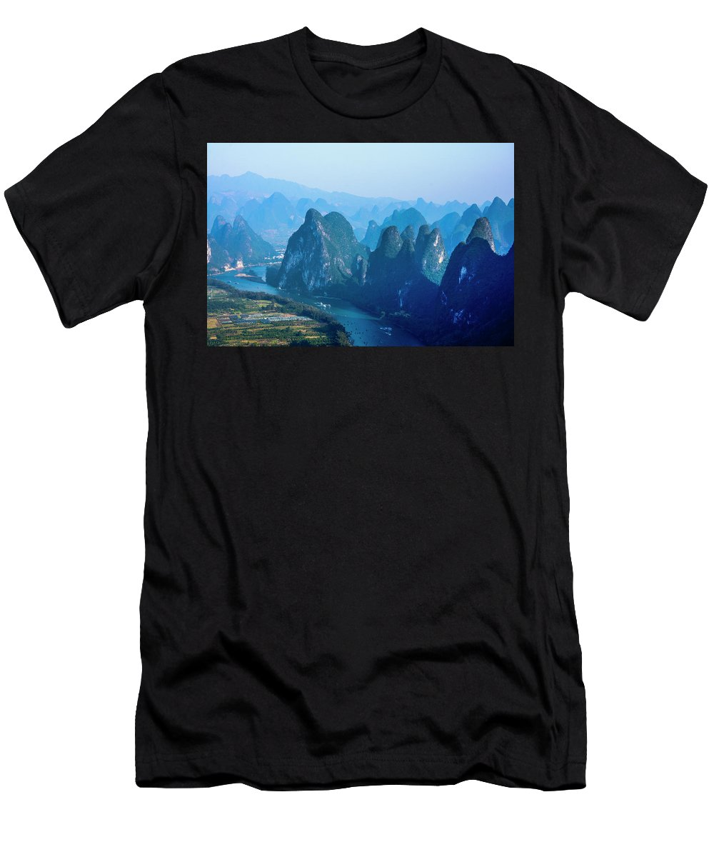 Scenery Men's T-Shirt (Athletic Fit) featuring the photograph Karst Mountains And Lijiang River Scenery by Carl Ning
