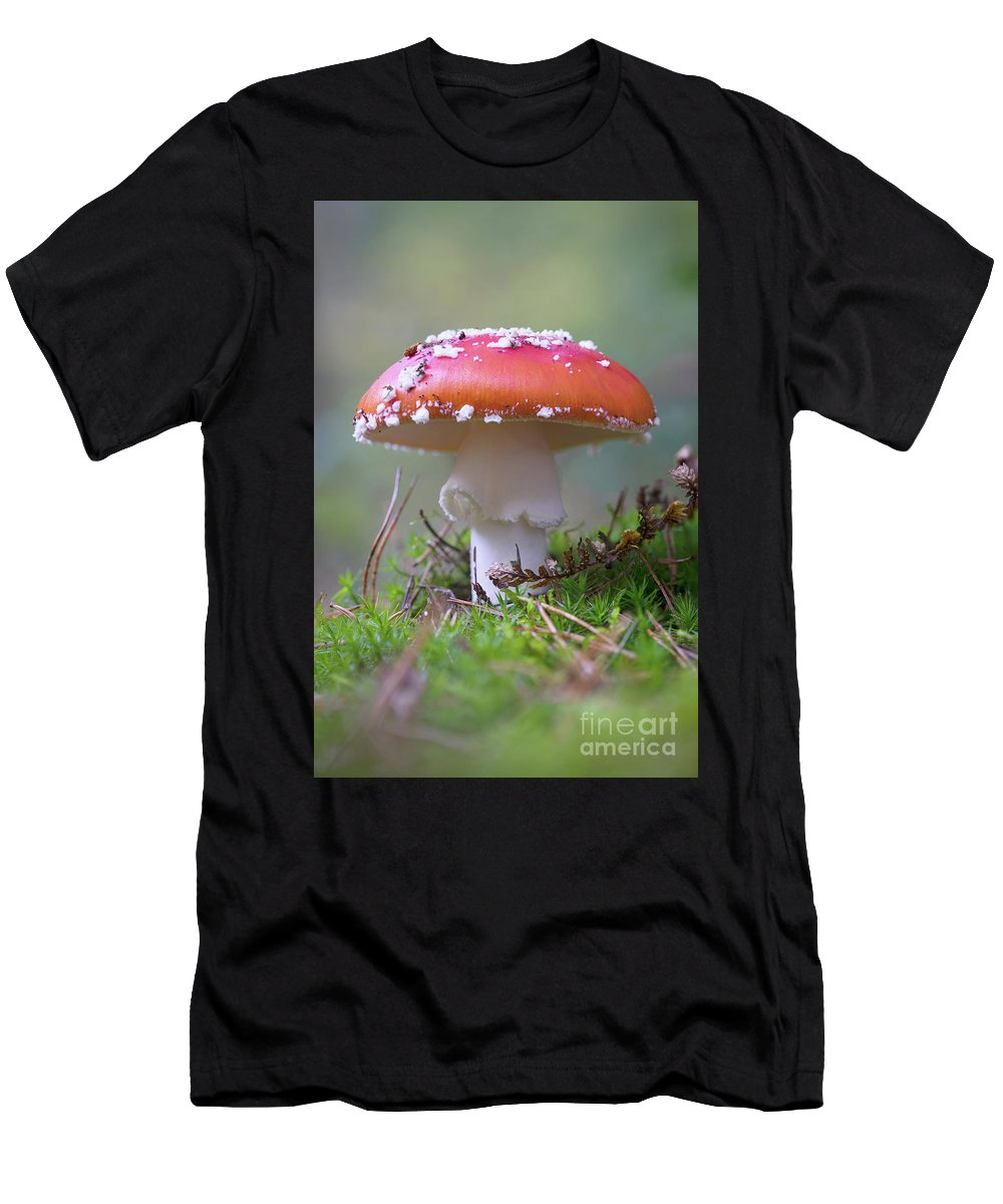 Bokeh Men's T-Shirt (Athletic Fit) featuring the photograph Mushrooms by Brothers Beerens