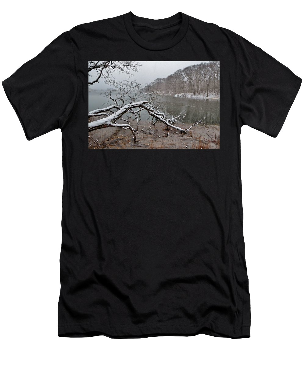 River Men's T-Shirt (Athletic Fit) featuring the photograph The Bass River In Winter by Scott Hufford