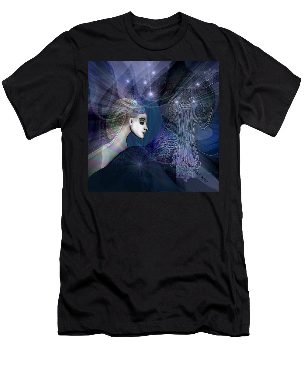 1101 Mysterious Journey V Men's T-Shirt (Athletic Fit) featuring the painting 1101  Mysterious Journey V by Irmgard Schoendorf Welch