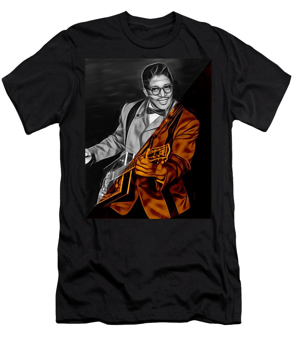 Bo Diddley Men's T-Shirt (Athletic Fit) featuring the mixed media Bo Diddley Collection by Marvin Blaine