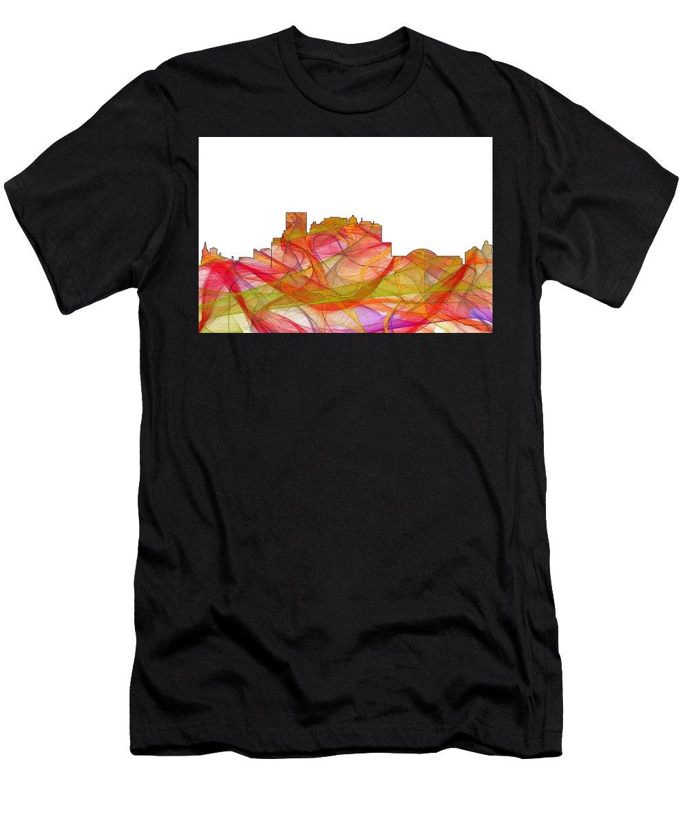 El Paso Texas Skylineskyline Men's T-Shirt (Athletic Fit) featuring the digital art El Paso Texas Skyline by Marlene Watson
