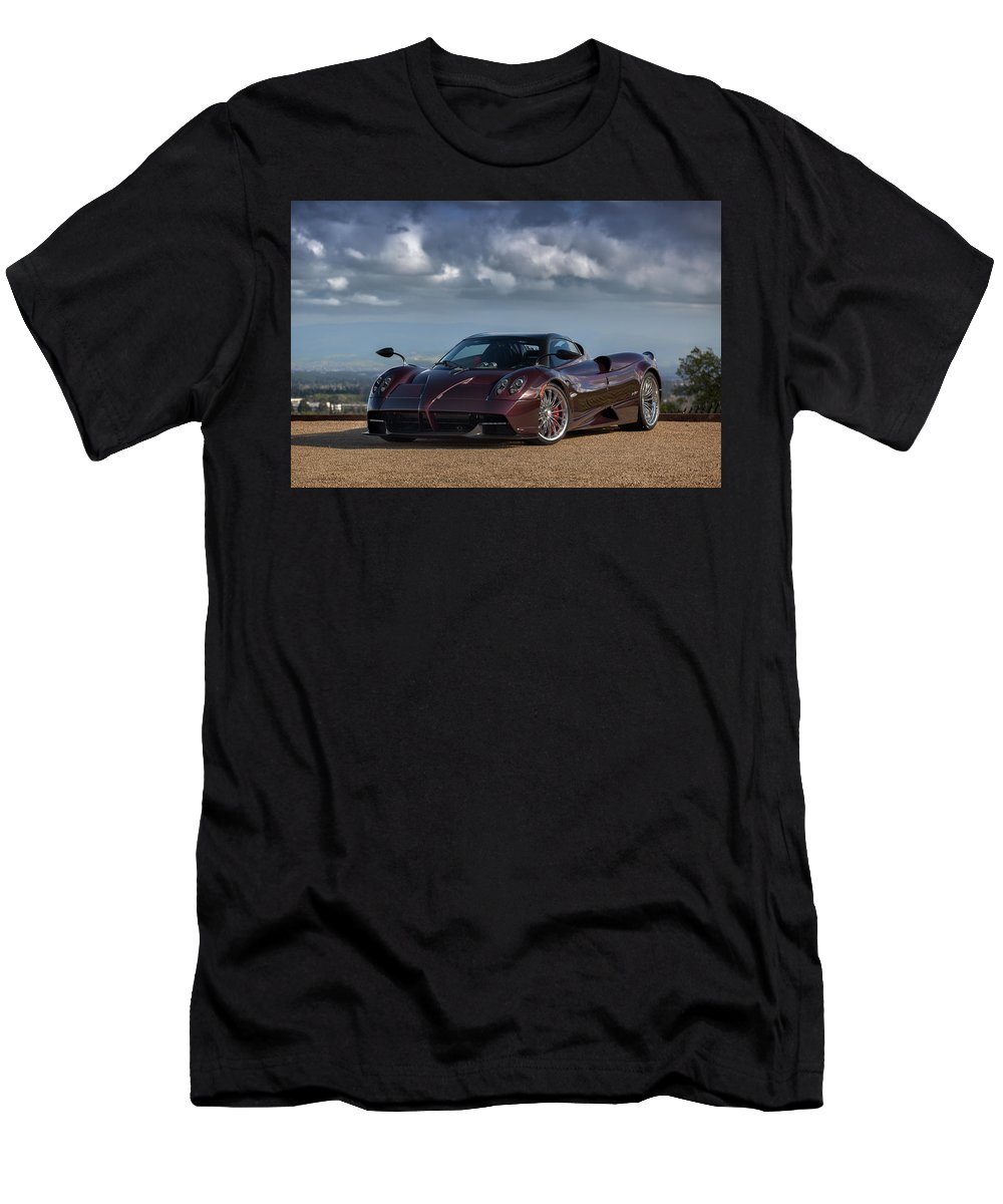 Pagani Huayra Men's T-Shirt (Athletic Fit) featuring the photograph #pagani #huayra #roadster #print by ItzKirb Photography