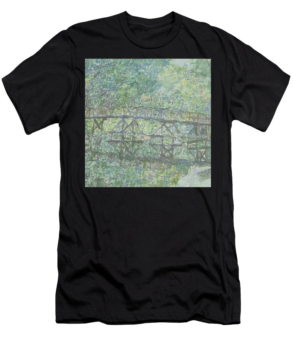 Bay Men's T-Shirt (Athletic Fit) featuring the painting Bridge by Robert Nizamov