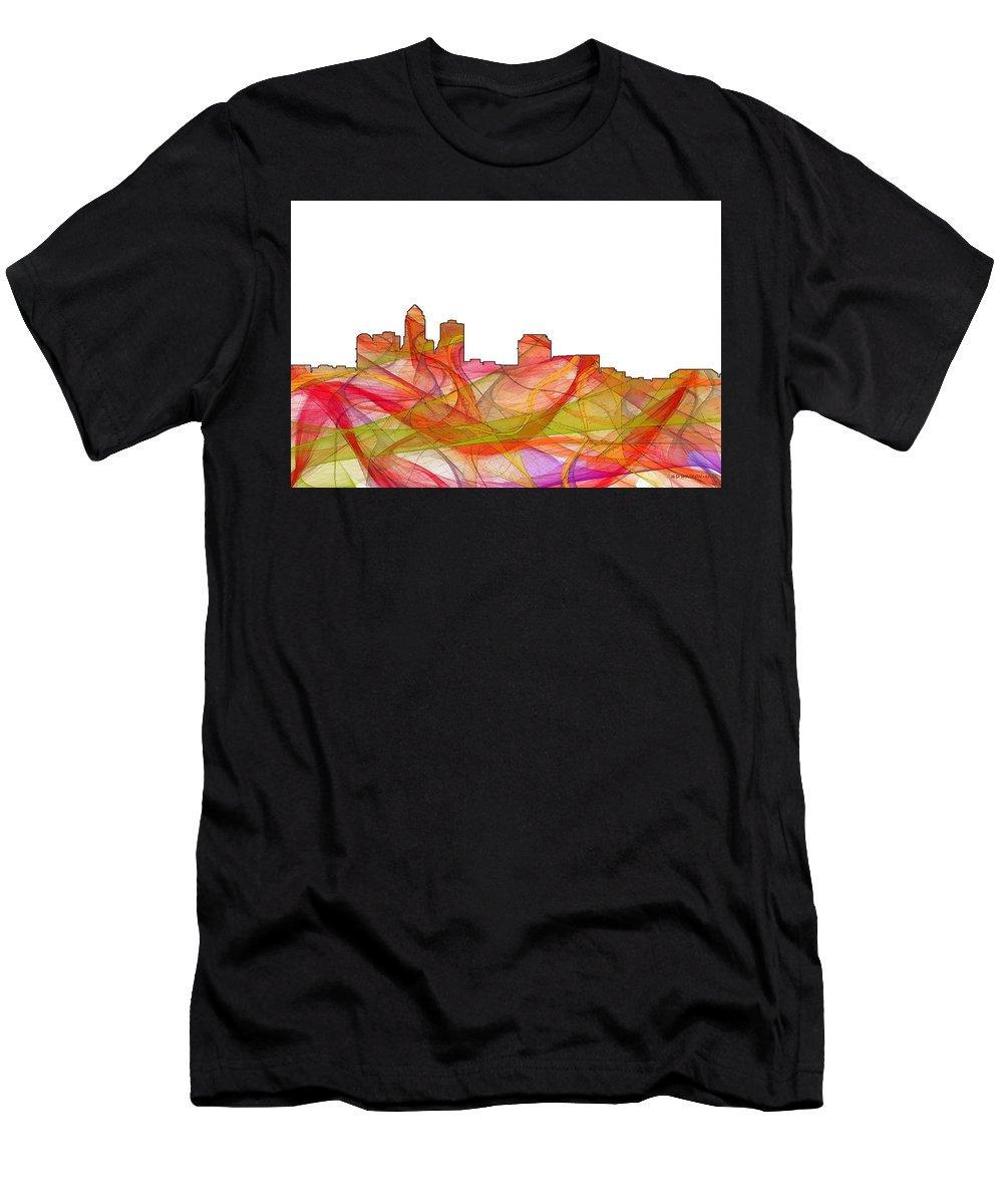 Des Moines Iowa Skyline Men's T-Shirt (Athletic Fit) featuring the digital art Des Moines Iowa Skyline by Marlene Watson