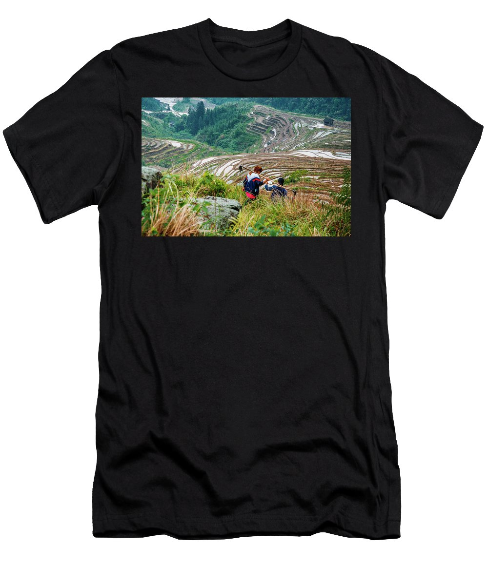 Terrace Men's T-Shirt (Athletic Fit) featuring the photograph Longji Terraced Fields Scenery by Carl Ning