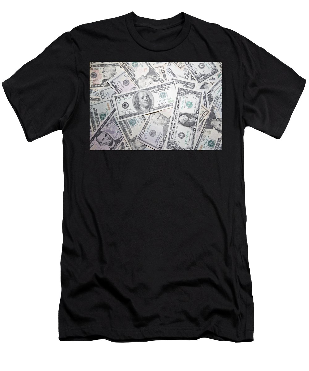 Money Men's T-Shirt (Athletic Fit) featuring the photograph American Banknotes by Les Cunliffe