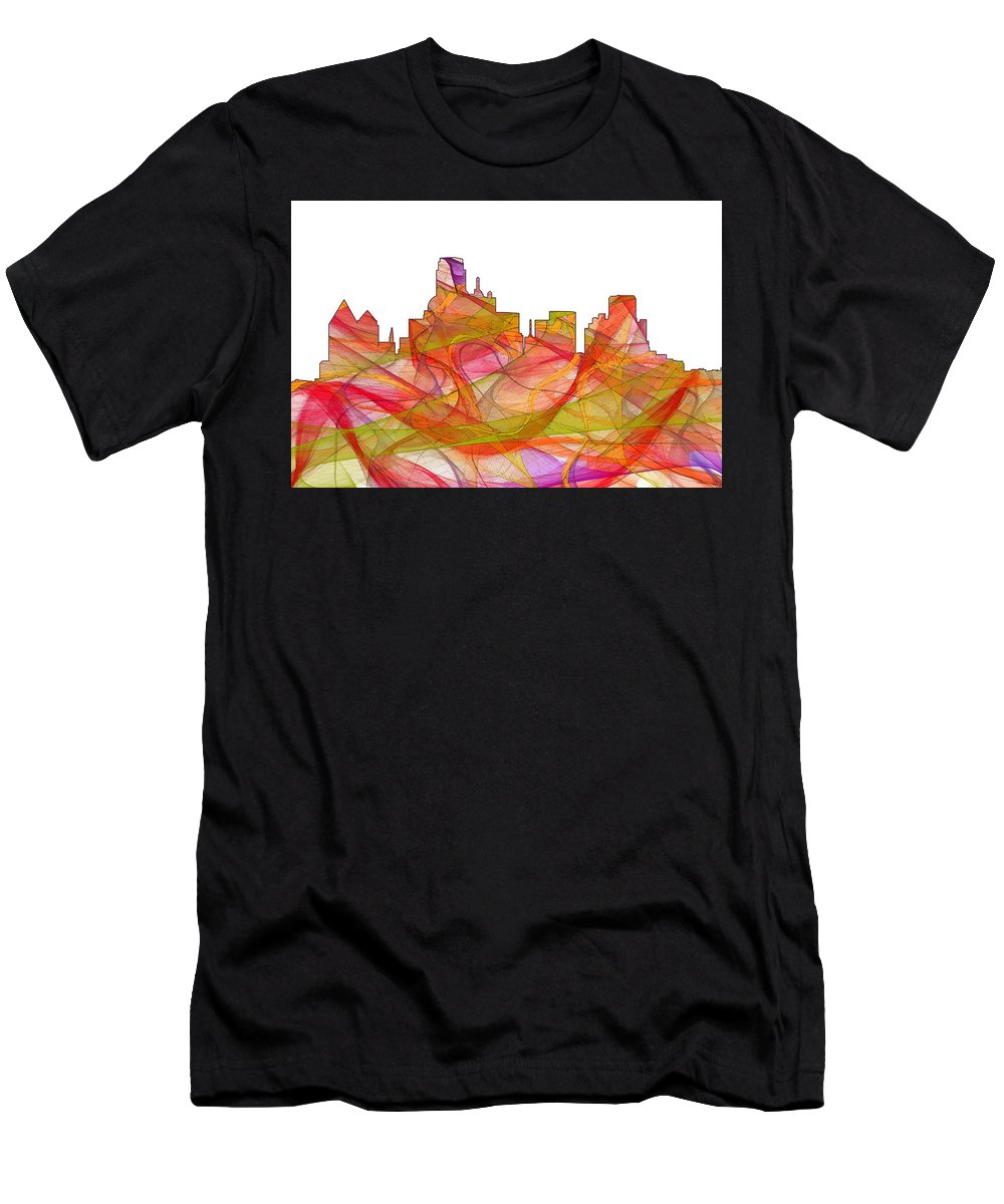 Dallas Texas Skylineskyline Men's T-Shirt (Athletic Fit) featuring the digital art Dallas Texas Skyline by Marlene Watson