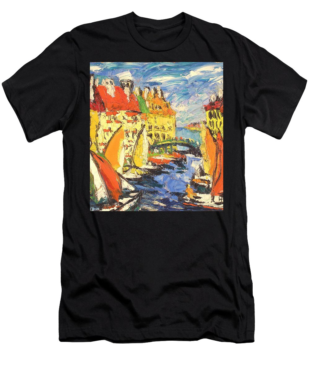 Bay Men's T-Shirt (Athletic Fit) featuring the painting City by Robert Nizamov